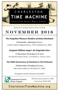 Charleston Time Machine November 2016 Events Flyer